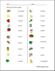 Fruits et légumes: Activité d'association de l'image au mot. Avec solutions