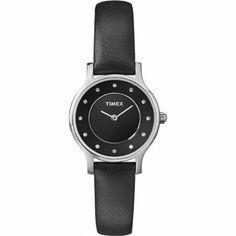 Timex T2P314 Ladies Classic Black Leather Strap Watch | WatchCorridor