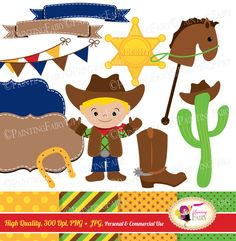 Cowboy Clip Art Set Cliparts Cute boy illustration Bunting Label Party elements Polka dots Digital Papers Personal & Commercial Use pf00074 by PaintingFairyClipart on Etsy https://www.etsy.com/uk/listing/178098069/cowboy-clip-art-set-cliparts-cute-boy