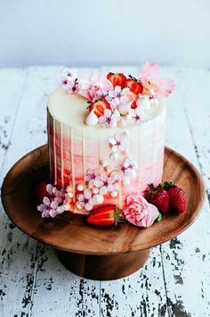 Strawberry and vanilla bean cake.
