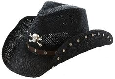 Wholesale Womens Straw Cowboy Hat with Skull and Crossbones Bling ...