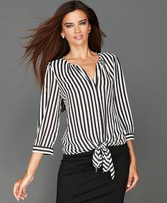 INC International Concepts Top, Three-Quarter-Sleeve Tie-Front Striped Blouse - Tops - Women - Macy's Blouse Styles, Blouse Designs, Hijab Style Dress, Modelos Fashion, Mode Plus, African Fashion Dresses, Mom Outfits, Modest Dresses, Clothes For Women