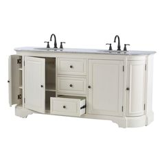Home Decorators Collection Davenport 73 in. Vanity in Distressed White with Granite Vanity Top in Grey and Undermount Sink-1975400410 - The Home Depot