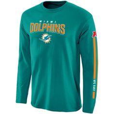 Men's Miami Dolphins Pro Line Aqua Red Zone Long Sleeve T-Shirt