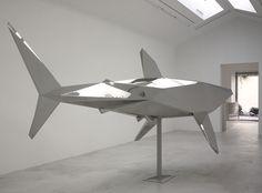 The Shark by Xavier Veilhan via Galerie Perrotin, New York/Paris/Hong Kong Jeff Koons, Steel Sculpture, Sculpture Art, Water Sculpture, Xavier Veilhan, Geometric Sculpture, Creation Art, Art Optical, Small Sculptures