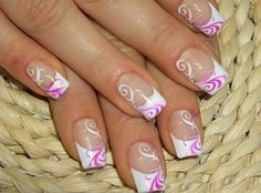 white and pink swirly french nails
