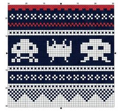Space Invaders - free pattern for cross stitch or hama beads Beaded Cross Stitch, Cross Stitch Borders, Cross Stitching, Cross Stitch Embroidery, Cross Stitch Patterns, Fair Isle Knitting Patterns, Knitting Charts, Knitting Stitches, Knitting Designs