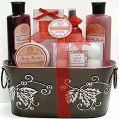 Aquaterra - Sugared Cranberry Spa Set Bath and Body Gift Basket by Aquaterra. $39.99. Add a touch of fruity goodness to your spa day getaway with the sweet yet tart fragrance of sugared Cranberries. This collection captures the essence of the berries in a luxurious spa set containing foaming Bubble Bath, Shower Gel, Body lotion and MORE! The lovely basket with white washed scrolls is a handsome addition to any homes decor. Manufactured by Aquaterra Spa Products. Ingredients...