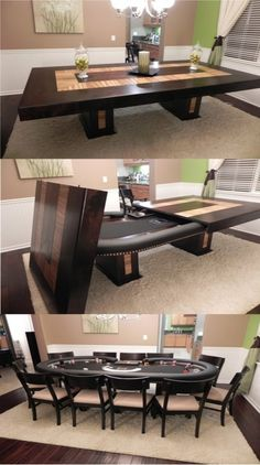 a dining table that converts to a poker table - yes please! *Note - my goal is to pin only original sources, but the original source for this wasn't compatible with Pinterest. If you link through the picture to the website I got it from, there is a link to the guy who manufactures the tables (owenscustompokertables.com).