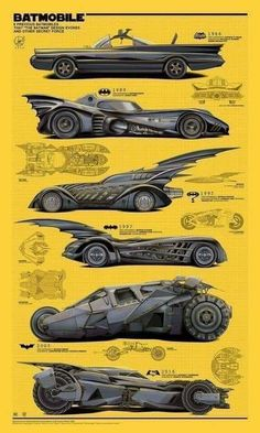 Every batmobile ever. Batman Car, Batman Poster, Batman Artwork, Batman Batmobile, Batman 1966, Batman Wallpaper, Batman And Superman, Spiderman, Heros Comics