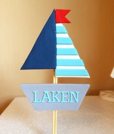 Nautical fondant boat cake topper