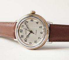 Men's watch Vostok, mechanical wristwatch, stripy dial, grey, brown tones, Soviet Era