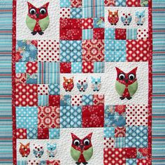 Owly Owl Cot Quilt - Jiddi's Patch