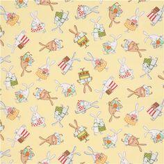 yellow Timeless Treasures baking bunny animal fabric
