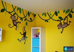 Muurschildering aapjes aan lianen in een kinderkamer on Lizart  http://lizart.be/wp-content/uploads/muurschilderingen-van-eigen-ontwerp/muurschildering-kinderkamer.JPG