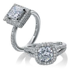 Double halo princess cut engagement ring and cushion cut diamond halo ring in a split shank mounting.