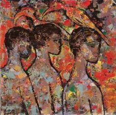 Four Boys and Two Birds - Walter Battiss