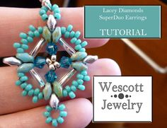 Pattern for Lacey Diamonds SuperDuo Earrings by WescottJewelry