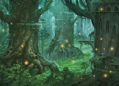 Elven forest village.  I want to live in trees and use fireflies for lighting. <3