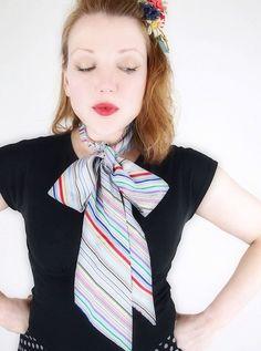 Vintage Long Satin Stripe Scarf or Sash Tie