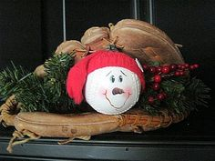Baseball Snowman With Red Cap