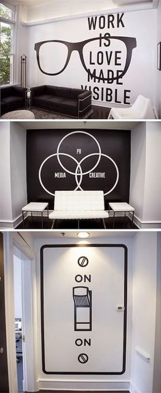 10 creative office space design ideas that put your interior design in the shade - Page 5 of 5 - THE Creative Office Space, Office Space Design, Cool Office, Office Interior Design, Office Interiors, Office Designs, Small Office, Creative Wall Decor, Office Mural