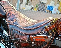 "Nose art/Pin-up girl ""Red Hot"" custom hand tooled leather motorcycle seat. Description from pinterest.com. I searched for this on bing.com/images"