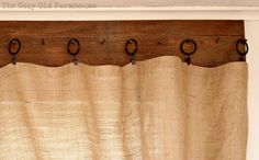 """The Cozy Old """"Farmhouse"""": burlap curtains; clip rings, wood and nails. For the dining room?"""