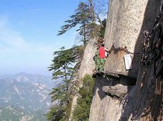 The Scariest Trail In The World. (China, Mt. Hua Shan). The trail itself is dangerous and stunning, but what is at the top will really shock you.