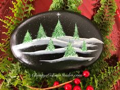Etsy :: Your place to buy and sell all things handmade Pebble Painting, Pebble Art, Stone Painting, Christmas Rock, Christmas Projects, Winter Christmas, Painted Rocks Craft, Hand Painted Rocks, Painted Stones