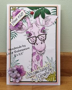 Another card made with Pink Inks Design Giraffe stamp Design Cards, Card Designs, Giraffe Birthday, Giraffe Painting, Lavinia Stamps, Ink Stamps, Card Making Techniques, Animal Cards, Pretty Cards