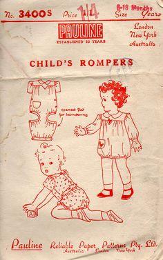 Pauline, little known Australian comp., 1940s Infant's Romper Suit Vintage Sewing by BessieAndMaive, $8.50