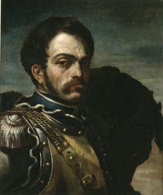 Théodore Géricault - Carabinier en buste avec son cheval - 1814.