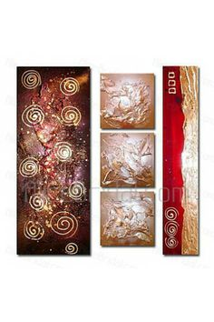 Hand-painted Abstract Oil Painting with Stretched Frame-Set of 5 - Alice Bridal