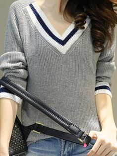 V Neck Patchwork Brief Long Sleeve Knit Pullover Latest Looks Shop Affordable & Stylish Dresses, Tops, Shorts & More! Latest Fashion Clothes, Fashion Sale, Fashion Dresses, Fashion Trends, Trendy Outfits, Stylish Dresses, Long Sleeve Sweater, Types Of Sleeves, Sweaters For Women