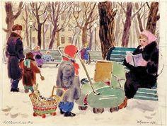 Еремина Татьяна Алексеевна (Россия, 1912-1995) «На бульваре» 1957