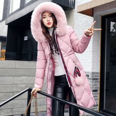 Long Parkas Women Large Fur Collar Hooded Jacket Warm Winter Outwear Thick Padded Cotton Coat Plus Size Plus Size Winter Jackets, Winter Jackets Women, Coats For Women, Clothes For Women, Long Winter Coats, Spring Coats, Long Coats, Long Jackets, Women's Jackets