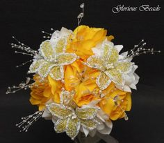 Beaded Lily Wedding Bridal Bouquet You Pick Color Silk Flowers Decoration Quince | eBay