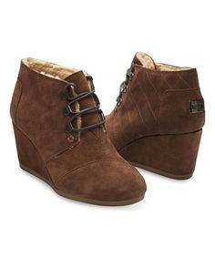 Look at this Chocolate Brown Water-Resistant Suede Desert Wedge Bootie - Women on #zulily today!