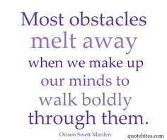 Thursday, March 8th - THEME DAY - OBSTACLES!  What are your current obstacles and/or how do you feel about them?  What are you doing to overcome them?