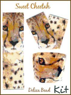 Sweet Cheetah Peyote Wide Cuff Delica Seed by maddiethekatpatterns