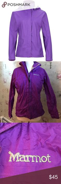 "Marmot Purple Rain Jacket Still in good condition, the ""marmot"" stitching is a little scratched up from the Velcro, but other than that still good condition! Marmot Jackets & Coats"