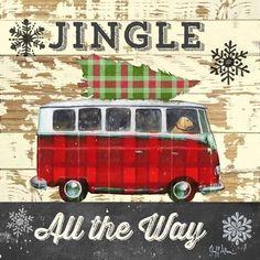 Christmas on Tartan Road ~Ruth Levison Design Tartan Christmas, Christmas Truck, Plaid Christmas, Retro Christmas, Vintage Christmas Cards, Christmas Signs, Christmas Pictures, Christmas Art, Christmas Greetings