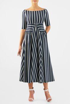 Stripe cotton knit empire midi dress