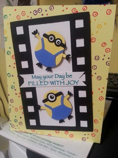 Minions - OMG, this card could be accompanied by minion cookies made from those fancy little cookies in the bag.. oval shaped and have something sandwiched in between?