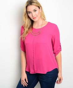 30a996e0cacbba Polyester Career Solid Plus Size Tops   Blouses for Women