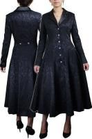 Black Jacquard Long Gothic Fitted Coat