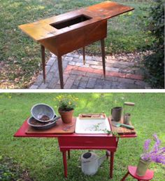 Trash to treasure portable potting bench upcycled from a sewing table pulled out of a neighbor's trash! For color & protection from the outdoor elements, it was painted with red semi-glass oil based exterior house paint. A small plumber's sample plastic sink fit perfectly in the hole where a sewing machine once sat. A mesh sink strainer was added to the sink. It is now a simple plant-potting work bench to tote around the yard as needed! The top still folds for storage, and the bench doubles ...