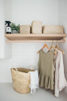 Kyal and Kara's Central Coast Australia home renovation - getinmyhome. Laundry inspiration - wicker basket and clothes hanging rail. Laundry Room Design, Laundry In Bathroom, Small Laundry, Laundry Decor, Laundry Baskets, Laundry Area, Laundry Rooms, Laundry Shelves, Laundry Room Organization