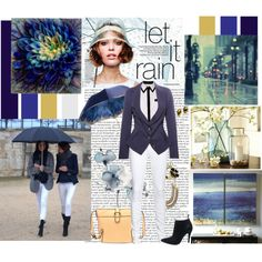 Navy blazer and white jeans with Romwe, let it rain, created by taggica on Polyvore